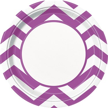 Pretty Purple Chevron Dinner Plates (8)