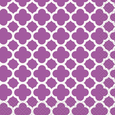 Pretty Purple Quatrefoil Lunch Napkins (16)
