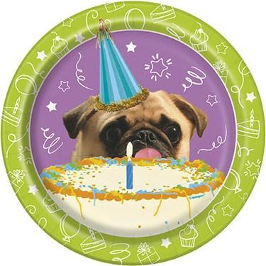 "Pug Puppy Birthday 7"" Plates (8)"
