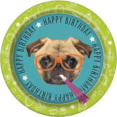 "Pug Puppy Birthday 9"" Plates (8)"