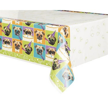 "Pug Puppy Birthday Tablecover 54""X84"""