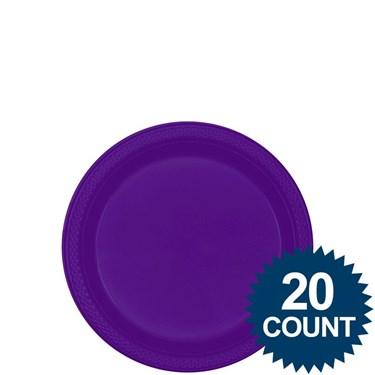 """Purple 7"""" Plastic Cake Plates (20 Pack)"""