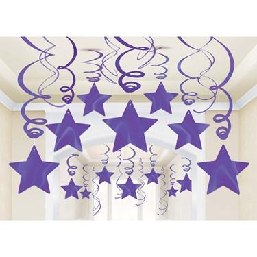 Purple Foil Star Hanging Decorations (30)