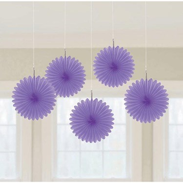 Purple Mini Hanging Fan Decorations