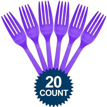 Purple Plastic Forks (20)