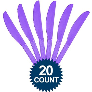 Purple Plastic Knives (20 Pack)