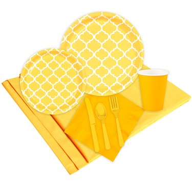 Quatrefoil School Bus Yellow Party Pack