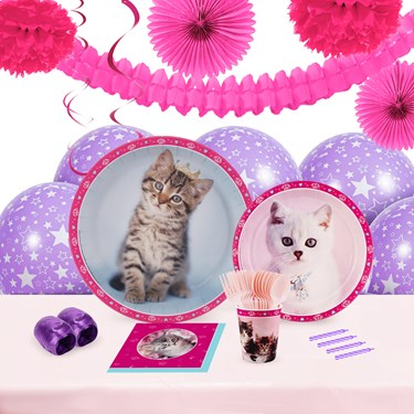 Rachaelhale Glamour Cats 16 Guest Tableware & Deco Kit