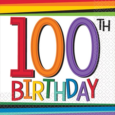 Rainbow 100th Birthday Beverage Napkins (16 Count)