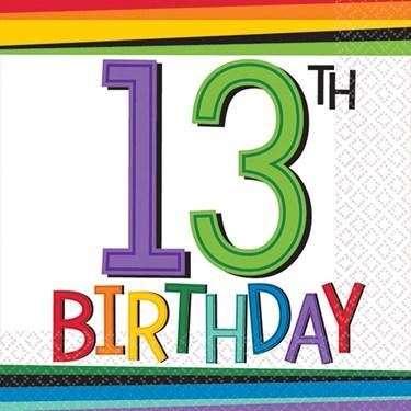 Rainbow 13th Birthday Beverage Napkins