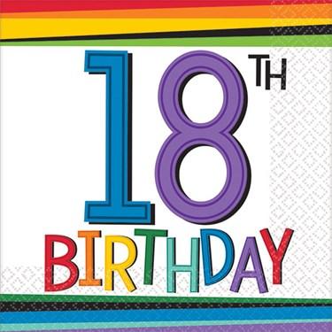 Rainbow 18th Birthday Beverage Napkins (16 Count)