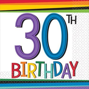 Rainbow 30th Birthday Beverage Napkins