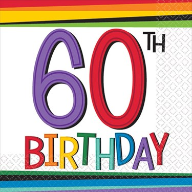 Rainbow 60th Birthday Beverage Napkins
