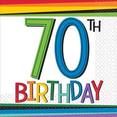 Rainbow 70th Birthday Beverage Napkins (16 Count)