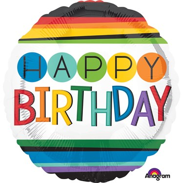 """Rainbow Birthday 17"""" Balloon (1)"""