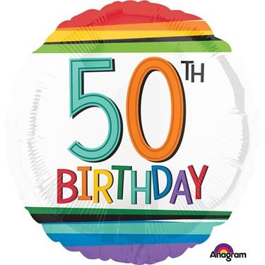 "Rainbow Birthday 50th Birthday 17"" Balloon (Each)"