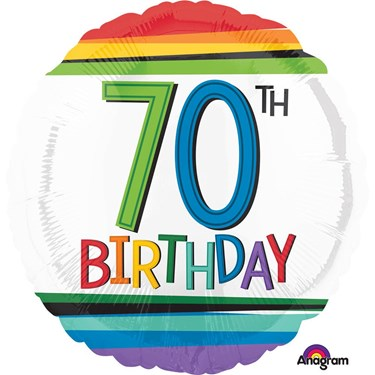 "Rainbow Birthday 70th Birthday 17"" Balloon (Each)"