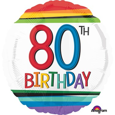 "Rainbow Birthday 80th Birthday 17"" Ballo"