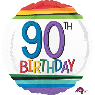 "Rainbow Birthday 90th Birthday 17"" Balloon (Each)"