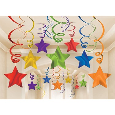 Rainbow Foil Star Hanging Decorations (3)