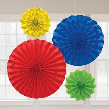 Rainbow Glitter Paper Fan Decorations (4)