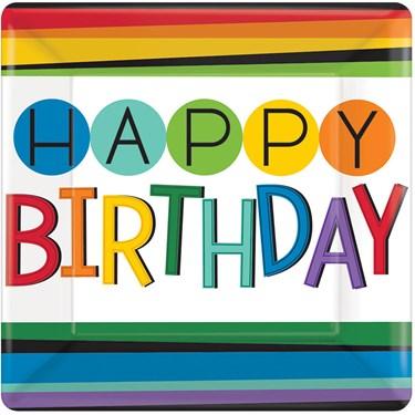 """Rainbow Happy Birthday 7"""" Cake Plates (8 Count)"""