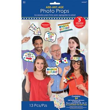 Rainbow Happy Birthday Add-Any-Age Photo Booth Props