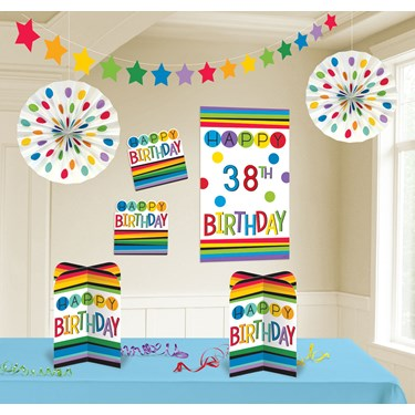 Rainbow Happy Birthday Add-Any-Age Room Deco Kit (8 pc)