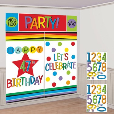 Rainbow Happy Birthday Add-Any-Age Scene