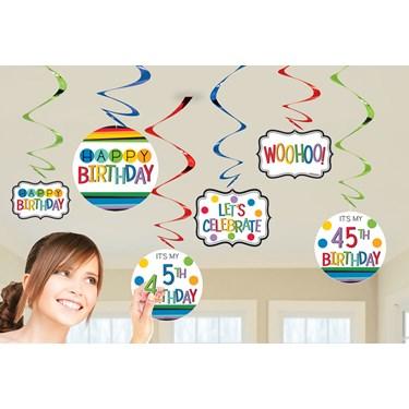 Rainbow Happy Birthday Add-Any-Age Swirl Hanging