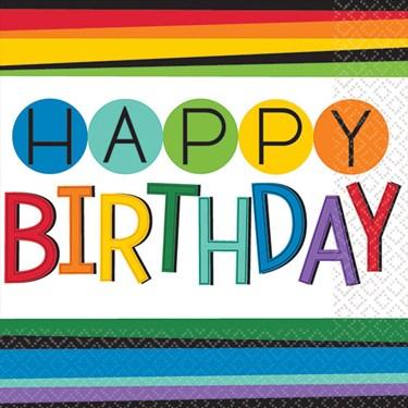 Rainbow Happy Birthday Beverage Napkins