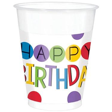 Rainbow Happy Birthday Plastic Cups (25)