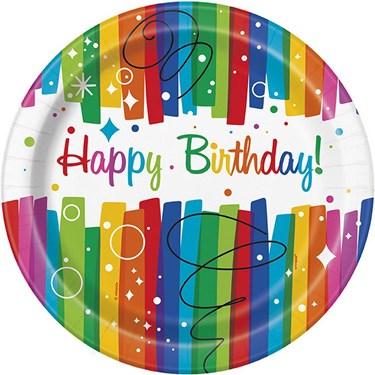 "Rainbow Ribbons Birthday 9"" Plates (8)"