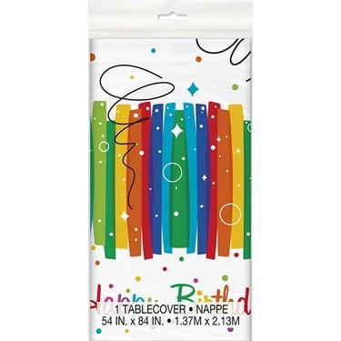 "Rainbow Ribbons Birthday Tablecover 54""X84"""