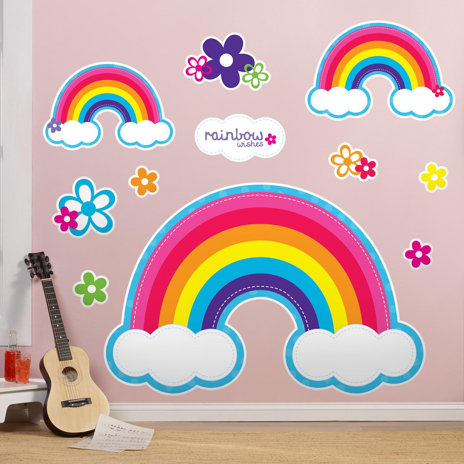 Rainbow Wall Decor Stickers : Rainbow wishes giant wall decals birthdayexpress