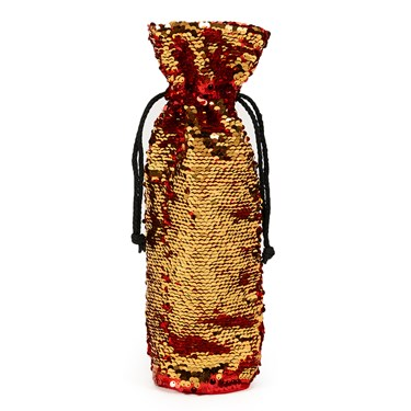 Red & Gold Reversible Sequin Wine Bag