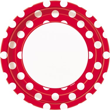 Red and White Dots Dinner Plates (8)