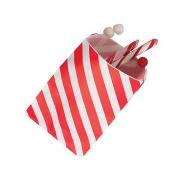 Red Striped Favor Bags