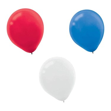 """Red, White, And Blue 12"""" Latex Balloons"""