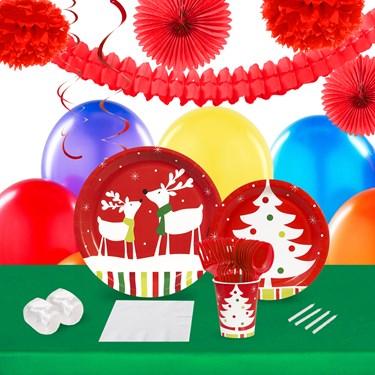 Reindeer Christmas Party 16 Guest Tableware & Deco Kit