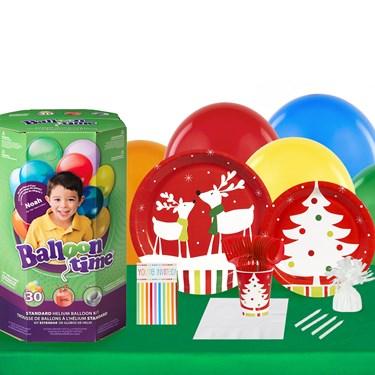 Reindeer Christmas Party 16 Piece Tableware & Helium Tank