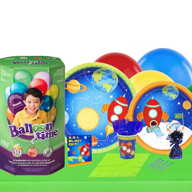 Rocket To Space 16 Guest Party Pack and Helium Kit