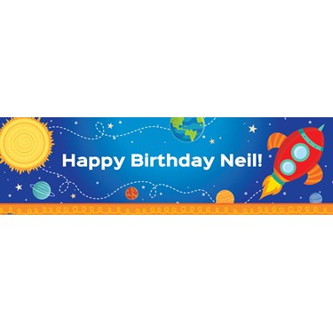 Rocket to Space Personalized Text Banner - Standard