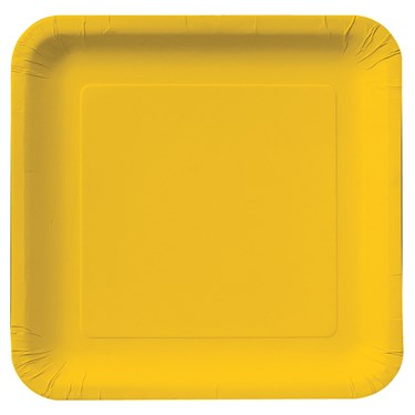 School Bus Yellow Square Dinner Plates