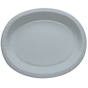 Shimmering Silver Oval Banquet Plates