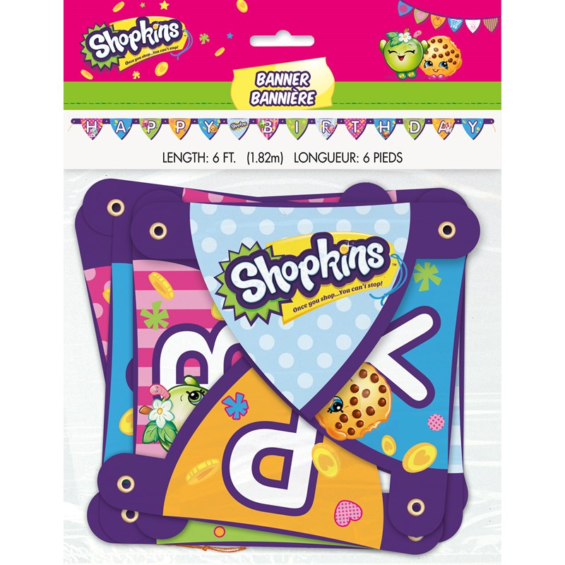 Shopkins Birthday Banner Shopkins Party Banner: Shopkins Happy Birthday Jointed Banner