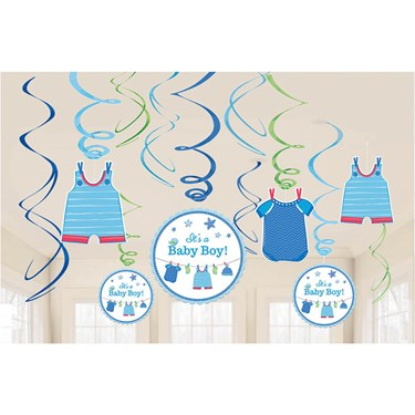 Shower With Love Baby Boy Foil Swirl Decoration