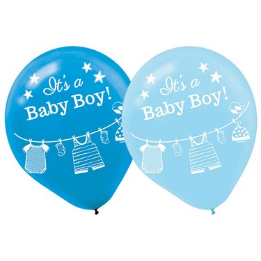 Shower With Love Baby Boy Latex Balloons (15 Count)