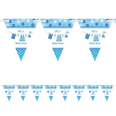 Shower With Love Baby Boy Pennant Banner