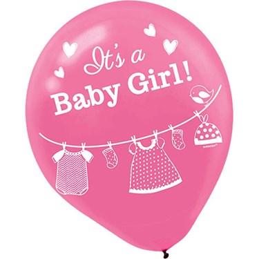 Shower With Love Baby Girl Latex Balloon